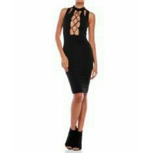 Dance &Marvel black lace up cut out body con dress